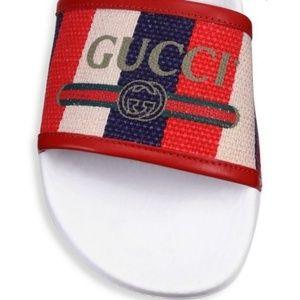 Gucci Shoes - Gucci Pursuit Canvas Pool Slides